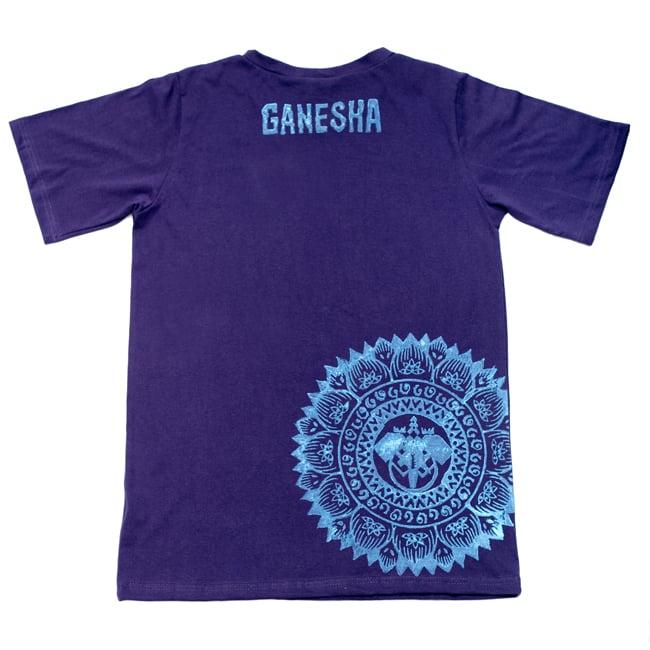 ガネーシャのひかり ウッドブロックプリントTシャツの写真5 - ウッドブロック独特の質感です