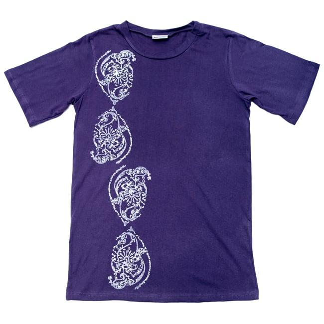 ドロップリーフ ウッドブロックプリントTシャツ 2 - 広げるとこのようなデザインになっております