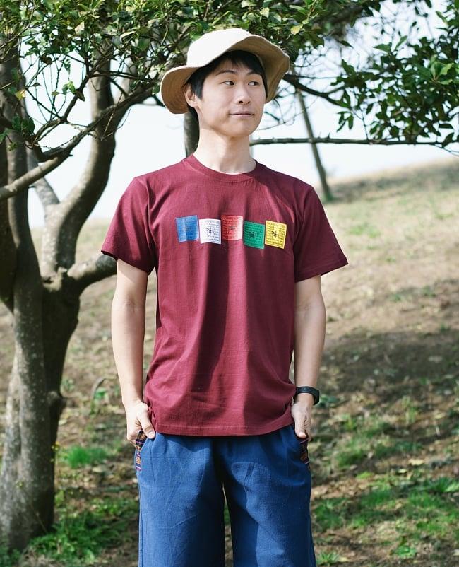 タルチョーTシャツ 4 - 身長167cmのモデルさんがMサイズのマルーンを着用したところです