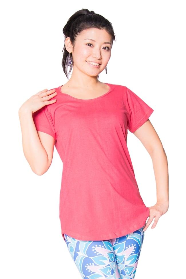 ロータス ラウンドTシャツヨガやフィットネスに 2 - 身長165cmのモデルさんの着用例です。
