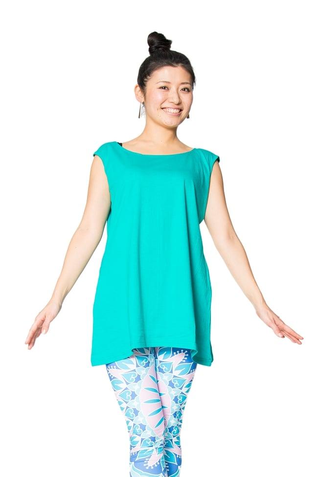 ロータス タンクトップヨガやフィットネスに 2 - 身長165cmのモデルさんの着用例です。