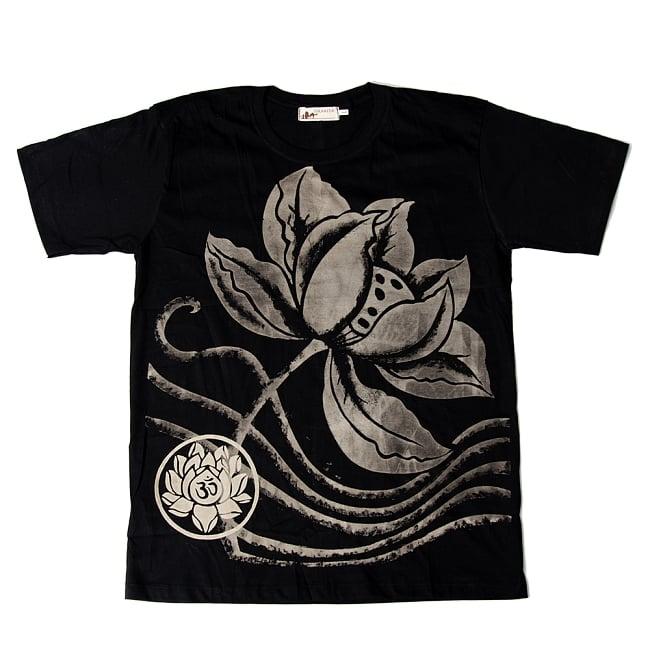 ロータスとオーンモチーフのTシャツ 5 - 選択A:ブラック
