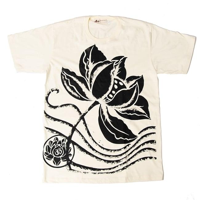 ロータスとオーンモチーフのTシャツ 7 - 選択C:クリーム