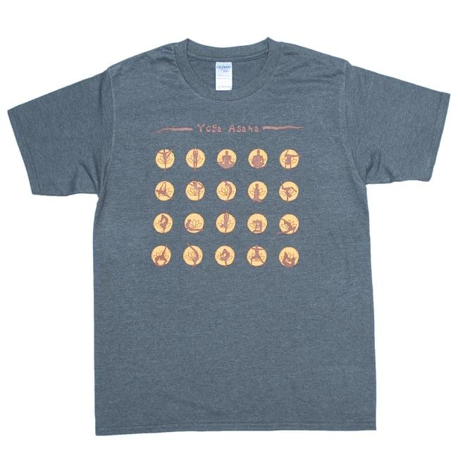 20ヨガポーズTシャツ ティラキタオリジナルデザイン 11 - ダークヘザー