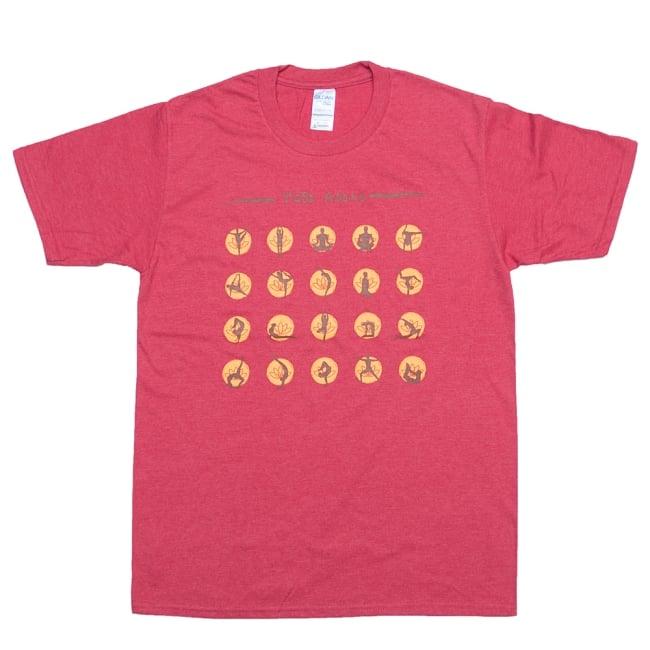 20ヨガポーズTシャツ ティラキタオリジナルデザイン 14 - ヘザーレッド