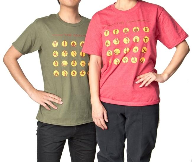 20ヨガポーズTシャツ ティラキタオリジナルデザイン 19 - 2人で並んでみました。身長は、男性モデル172cm、女性モデル152cmです。