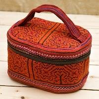 モン族刺繍のメイクボックス- 赤系アソート