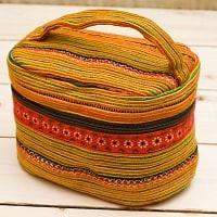 モン族刺繍のメイクボックス- オレンジ系アソート