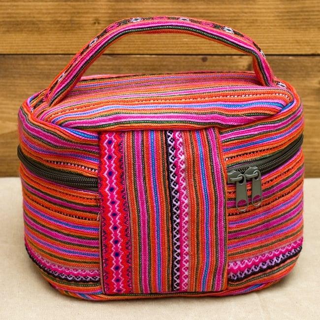 モン族刺繍のメイクボックス- ピンク系アソート 6 - 後ろはこの様になっています