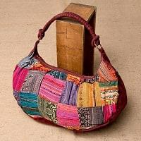 モン族刺繍のトラベルバッグ - えんじ