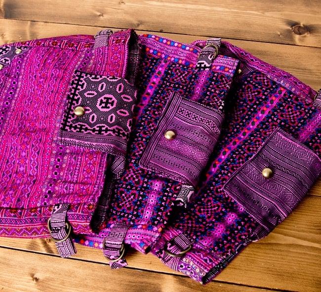 モン族刺繍のトートバッグ 15 - 選択Bのアソート写真です。この様なお色味の中からお届けします。