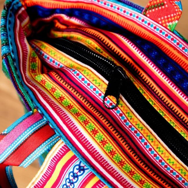 モン族刺繍のトートバッグ 4 - 開口部にはジップがあるので、中身も見えず安心です。