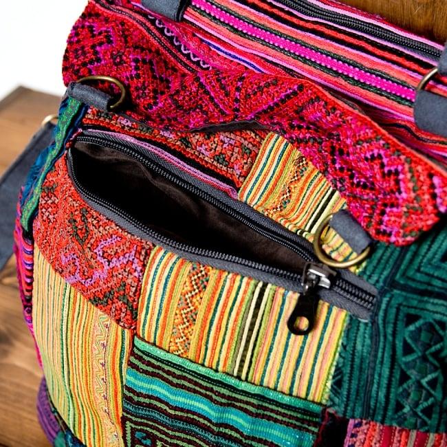モン族刺繍の2WAYショルダーバッグ 5 - 裏面もポケットがあります。