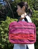 モン族刺繍のラップトップケース - 赤系
