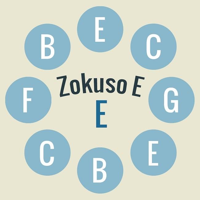 ハンドパン Zokuso E【59cm - 9notes】 -ソフトケース付属 2 - 当商品の音階位置はこのようになっております。