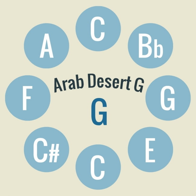 ハンドパン Arab Desert G【54cm - 9notes】 -ソフトケース付属 3 - キーの配置はこのようになっております。