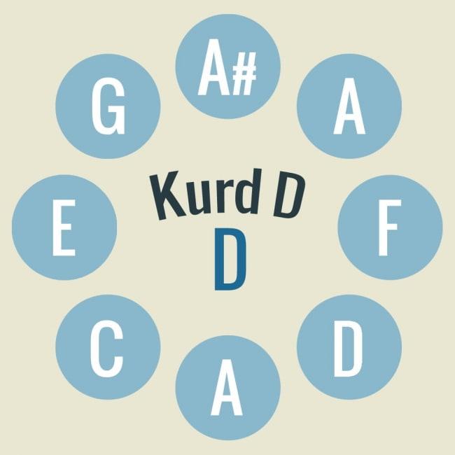 ハンドパン Kurd D【54cm - 9notes】 -ソフトケース付属 3 - キーの配置はこのようになっております。