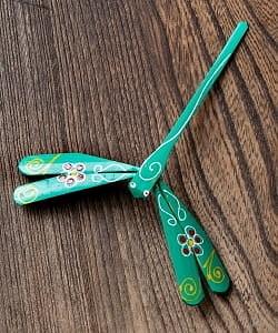 【15cm】ベトナムの竹製トンボ【ヤジロベエ】 薄緑系