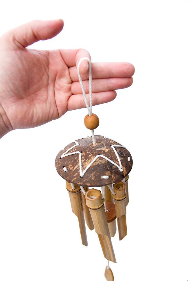 竹とココナッツの風鈴(中サイズ)の写真7 - 吊るす部分は輪っかになっています。